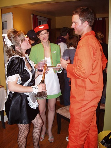 Me (Fifi French Maid), E (Stewardess), P (Prisoner)