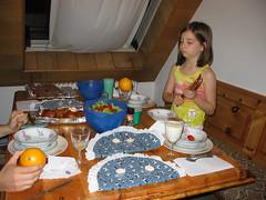 Hannah's first dinner