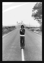 Monster in the sky (kristina is kool with a k) Tags: road street sky blackandwhite bw woman white black tree film ikea girl monster lady darkroom rural umbrella 35mm fun blackwhite country isolation solitary desolate developed darkroomdeveloped