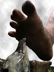 birth of the shoe (bafphoto) Tags: sky stone ouch foot mud dirty flint caveman originate