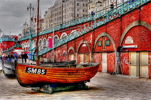Brighton Beach(ed) Boats, England