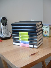 Pile of Moleskines (chicgeekuk) Tags: ontario laura london tower moleskine notebook demo book phone cd diary graph books sketchbook pile watercolour plain cordless address squared londonontario tissues dayplanner kishimoto tvtray laurakishimoto laurakishimotoca