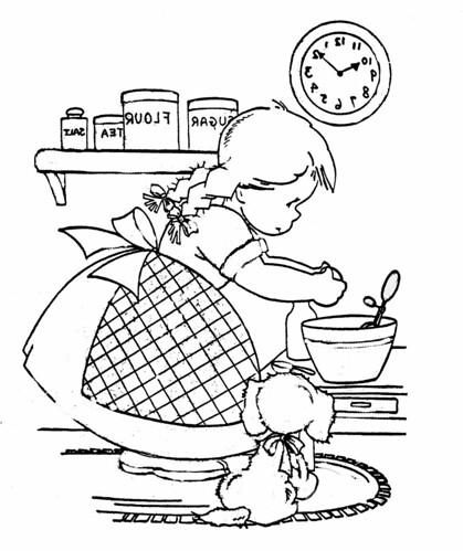 Cooking girl Coloring Book by 'Playingwithbrushes'.