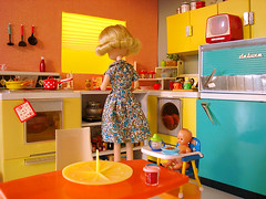 mom's happy kitchen (Super*Junk) Tags: baby cooking kitchen miniatures miniature baking dolls retro rement housewife housekeeping mrcheeks osyalle momshappykitchen