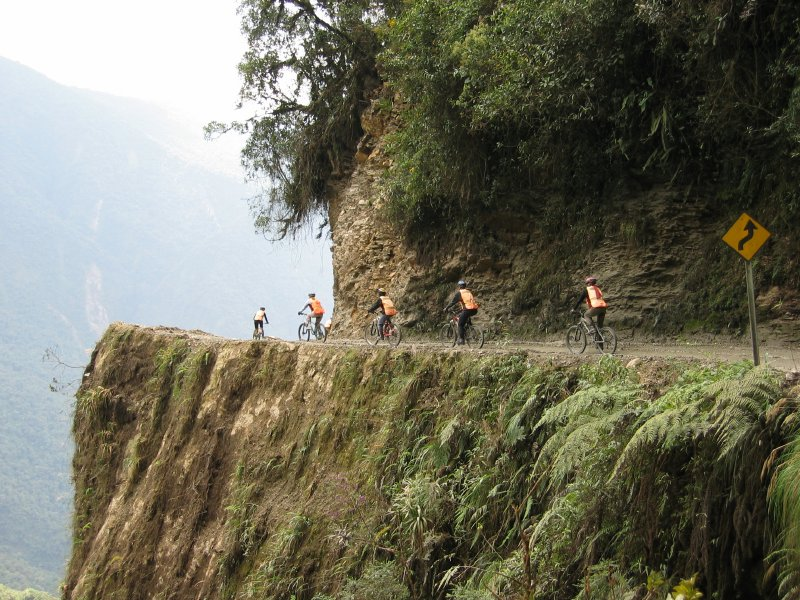 Bikes death road Bolivia