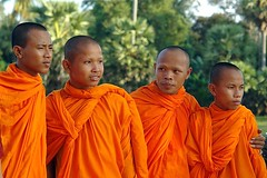 Angkor Wat sunset - monks