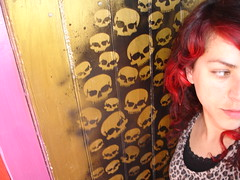 DSS door Glenda (Glenda GlitaGrrl) Tags: red stencils art girl skulls graffiti selfportraits leopard horror magical authorised desperatelyseekingsusan glitagrrl glendapontes
