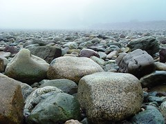 DSC00995enh Alma Rocks (or is it Mars? I forget) (ftoomschb - catching up) Tags: new sea mist canada beautiful misty fog landscape vanishingpoint rocks stones sony horizon rocky atmosphere cybershot brunswick atlantic shore f707 fadeout