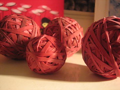 Balls of red elastic bands