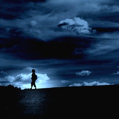 Night Passage (Olli Keklinen) Tags: blue woman topf25 silhouette night clouds photoshop dark square denmark is topv333 nikon searchthebest walk awesome 2006 100v10f his d200 passage gettyimages themoulinrouge 500x500
