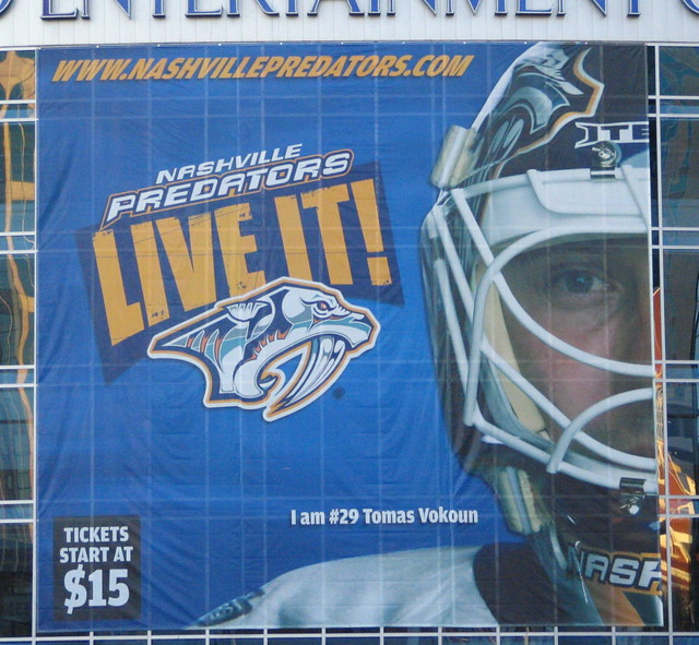 Thomas Vokoun Predators sign, Gaylord Entertainment Center