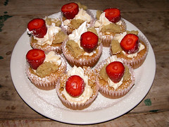 eight of them (owlana) Tags: cakes cupcakes baking vegan strawberry cream fairy cupcake sweets vwav vctotw