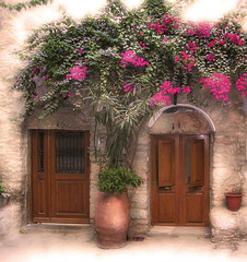 Mesta, Chios, Greece (greekstifado - Yanni) Tags: travel flowers architecture digital buildings garden islands artistic aegean greece vases chios mesta nikonstunninggallery