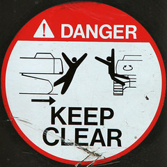 DANGER KEEP CLEAR (Leo Reynolds) Tags: sign canon is sticker powershot squaredcircle s3 peril f35 signsafety 0003sec 0ev hpexif signwarning signcircle 496mm groupperil xintx xratio11x sqset015 xleol30x