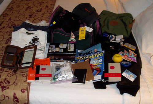 travel moleskine hotel flying journal luggage tompeters penguinmints redrubberball clifbars