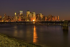 Sunset reflecting on southern Manhattan (audrey_sel) Tags: newyorkcity newjersey newport pavonia