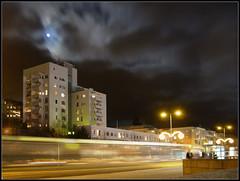 Moon over Espoonlahti ([ Petri ]) Tags: longexposure moon night espoo finland fullmoon cloudysky trafic espoonlahti lippulaiva abigfave