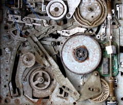 Ghost in the Machine (Dru!) Tags: broken analog movie pareidolia dead arm head watch wheels machine rusty read made tape elements rusted weathered damaged gears turning exposed magnetic vcr lever steampunk weatherbeaten crusted beyondrepair