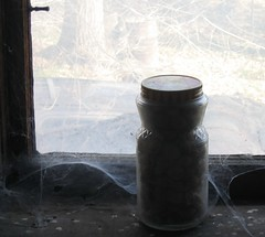 held in place (normaltoilet/ LSImages) Tags: house abandoned home window bottle fullhouse jar cobwebs