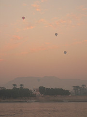 Dawn Balloons (Lazy B) Tags: november tag3 taggedout sunrise balloons dawn tag2 tag1 egypt 2006 nile fz5 luxor kiss2 kiss3 kiss1 kiss4 btld