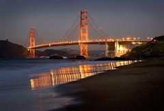 Golden Gate Bridge from Baker Beach (Rob Kroenert) Tags: ocean sanfrancisco california bridge sunset usa beach night lights golden bay gate san francisco long exposure goldengatebridge