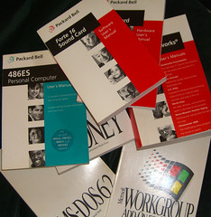 Pile of old documentation (marymactavish) Tags: tech text books microsoft documentation personalcomputer packardbell usermanual packardhell forte16