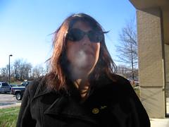 me.  smoking. (Just Jefa) Tags: girl sunglasses work outside smoke bluesky smoking smoker peacoat brownhair