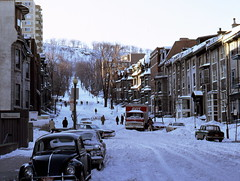 Peel St., Montreal, Feb. 20, 1972 (colros) Tags: snow montreal