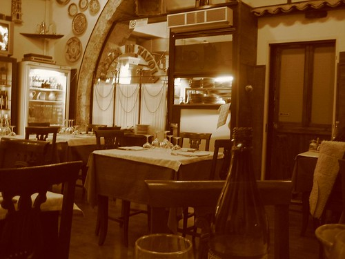 Angry sepia shot of the restaurant