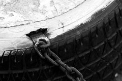 Secure firmly (Pulpolux !!!) Tags: street bw mexico lost tire chain secure safe activity stable locked insertion protected fastened
