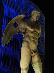 Angel of mine (tonninods) Tags: city blue light male sport statue buildings naked penis nightshot muscular structures warsaw olympic sonyh2