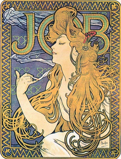 Alphonse Mucha, Papier a Cigarettes Job ad, 1896 a