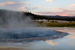 Cauldron Bubble (Robby Edwards) Tags: sunset vacation water pool nationalpark steam yellowstonenationalpark yellowstone wyoming thermal boilingwater uppergeyserbasin specland crestedpool