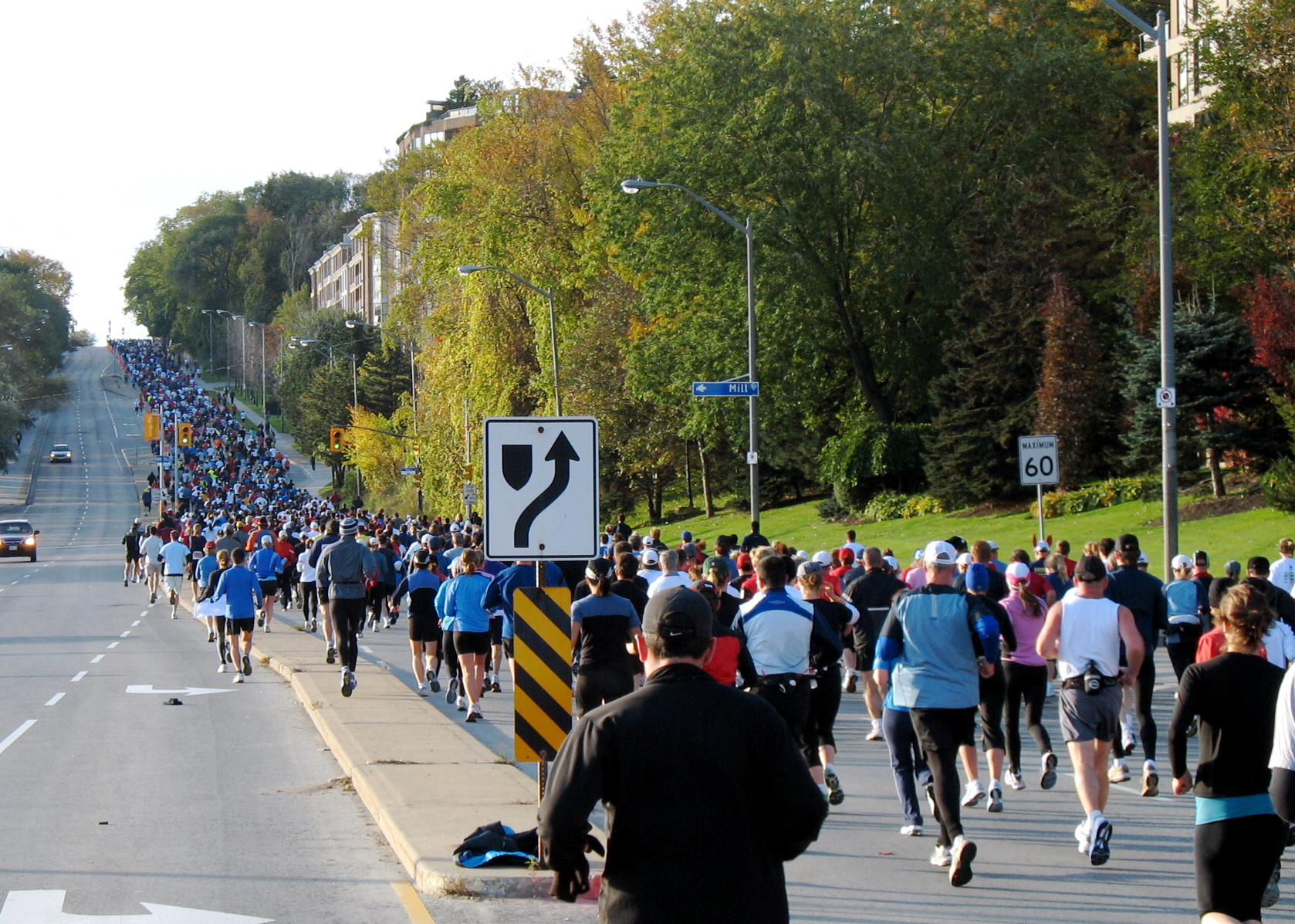 Toronto Marathon runners up Hogg's Hollow - Image credit ben_lawson on flickr