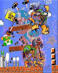 'Luigi v. Hammer Bros. !!' (tOkKa) Tags: tokka supermariobros chill weird fever buzzybeetle drmario iggykoopa koopatroopa spiney lakitu nes nintendo wii gameboy mushroomkingdom luigi toad peach mario goomba imagesrctokkaterrible2zcom