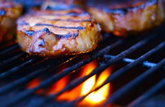 Tonight's Dinner: Pork Chops (ctaloi) Tags: food cooking dinner outdoors fire tasty bbq meat grill pork flame mmm chops porkchop grilled a100 porkchops theotherwhitemeat sonyalpha mywinners backyardcooking