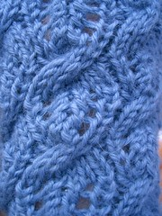 Closeup of Cabled Leaf Fingerless glove