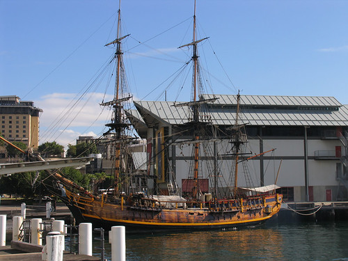 James Cooks Endeavour moored in Darling Harbour, Sydney
