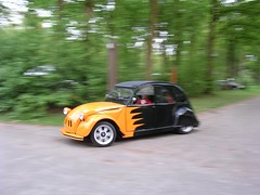 Fast flames (azu250) Tags: orange noir flames citroen 2cv custom eend deuche