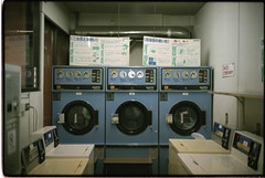 Washing Machines and Dryers (gullevek) Tags: blue film sign japan night writing geotagged tokyo fuji   machines iso1600 scannedfromnegative  fujinatura1600 notphotoshoped  epsongtx900 voigtlnderbessar3a voigtlndernoktonclassic40mmf14mc geolat35564064 geolon139691551