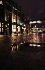 Distillery District (hyfen) Tags: toronto reflection rain night lights distillerydistrict distillery gooderhamworts