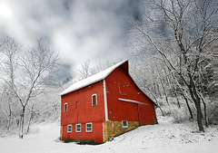 Little Red Barn (Todd Klassy) Tags: old travel trees roof winter light red sky snow storm color cute art history classic ice beautiful horizontal wisconsin architecture barn rural vintage landscape outside outdoors design woods angle farmers antique farm fineart country shed wideangle stormy storage historic vision icy agriculture dairy hillside idyll wi barnyard overhang artistry dairyfarm mounthoreb localhistory countryliving stockphotography winterscene farmstead rurallife redpaint royaltyfree polebarn danecounty ruralscene christmasscene paintedred littleredbarn barnred winterinwisconsin ferrousoxide agriculturalbuilding wisconsinfarms dairybarns historicfarmbuilding easiertimes propertyreleaseobtained