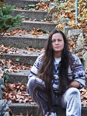 November Self Portrait (OldhaMedia) Tags: selfportrait stairs avalon stares lackoffocus fuglyshirt yesthosereallyaresilvervelvetpants