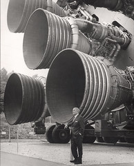 Dr. von Braun Standing by Five F-1 Engines at Flickr.com