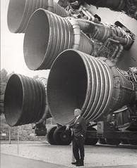 Dr. von Braun Standing by Five F-1 Engines at Flickr.com