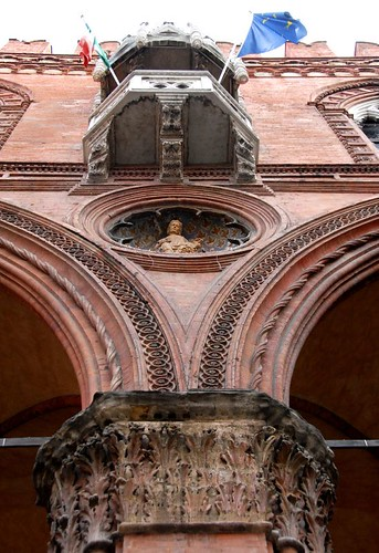 The balcony of Mercanzia Palace - Bologna, Italy