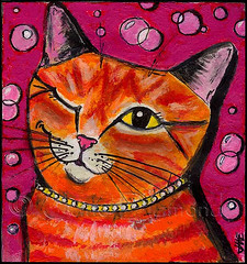 """Bubbly Cat"" painting by Jane Diamond (Jane (on break)) Tags: pink orange cats cute smile cat fun orangecat feline colorful acrylic bright jane sweet paintings kitty bubbles diamond polkadots popart etsy orangetabby wink bubbly whimsical efa tabbycat catart catpainting artmewvo petpaintings janediamond winkingcat wigglyvillepetboutique felinepainting popartcat etsyforanimals janediamonddesigns cutecatpainting orangetabbycatpainting popartkitty"