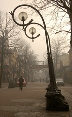 Two street lamps in a loving embrace (lifebeginsat50mm) Tags: morning travel fog photography lights europe poland polska streetlife streetscene nikond50 explore creativecommons eastern zakopane