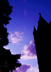 Pine Tree, Castle, Purple Clouds (Musical Mint) Tags: blue sky toronto color colour tree castle silhouette clouds cool twilight colorful purple creative mint musical colourful helluva aplusphoto