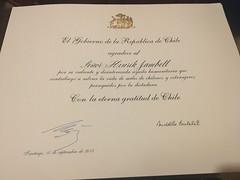 Diploma from President Michelle Bachelet to Henrik Janbell (haraldedelstam.foundation) Tags: diploma from president michelle bachelet henrik janbell